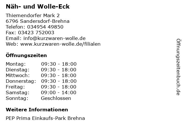 Näh- und Wolle-Eck in Sandersdorf-Brehna: Adresse und Öffnungszeiten