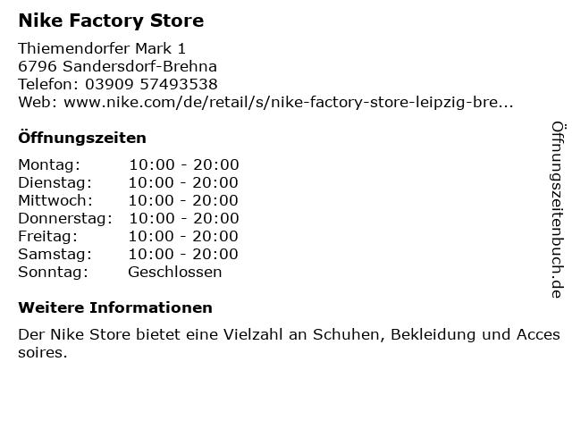 Nike in Sandersdorf-Brehna: Adresse und Öffnungszeiten