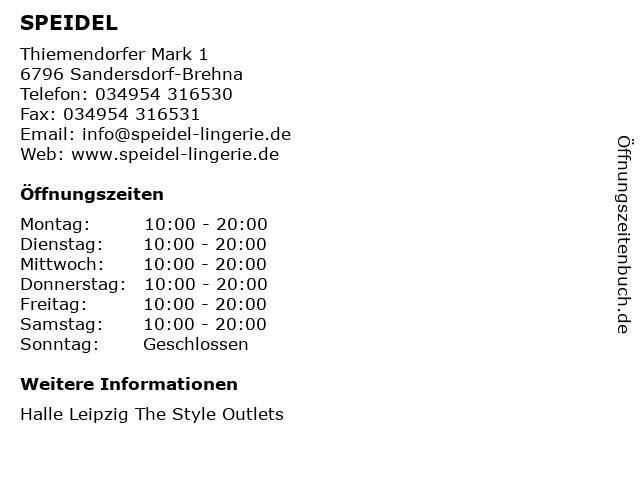 SPEIDEL in Sandersdorf-Brehna: Adresse und Öffnungszeiten