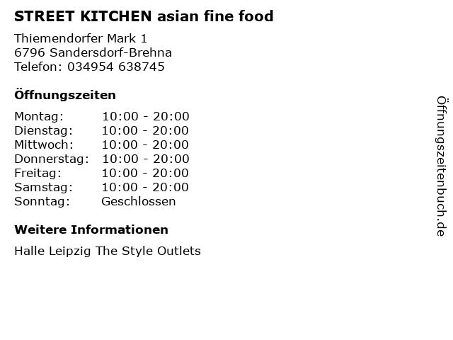 STREET KITCHEN asian fine food in Sandersdorf-Brehna: Adresse und Öffnungszeiten