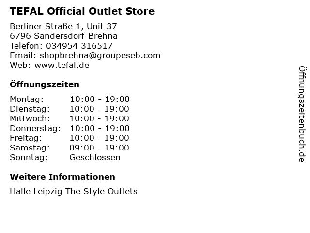 TEFAL Official Outlet Store in Sandersdorf-Brehna: Adresse und Öffnungszeiten