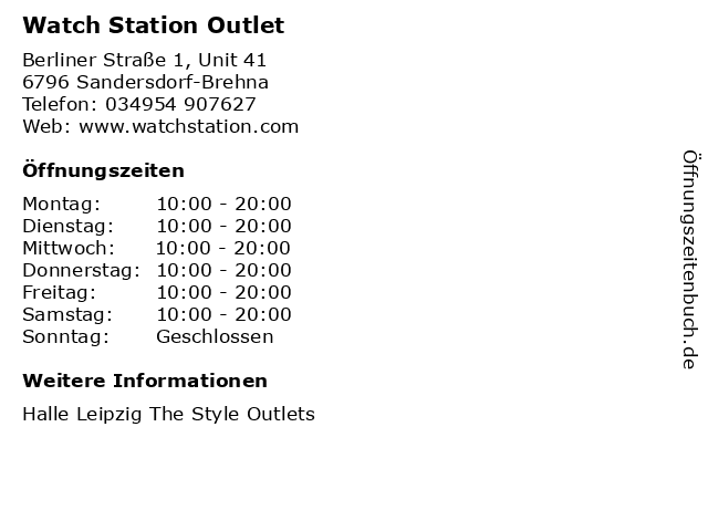WatchStation in Sandersdorf-Brehna: Adresse und Öffnungszeiten