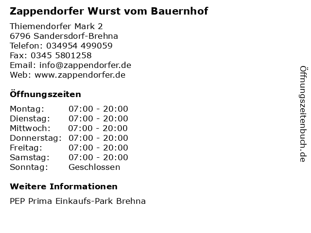 Zappendorfer Wurst vom Bauernhof in Sandersdorf-Brehna: Adresse und Öffnungszeiten