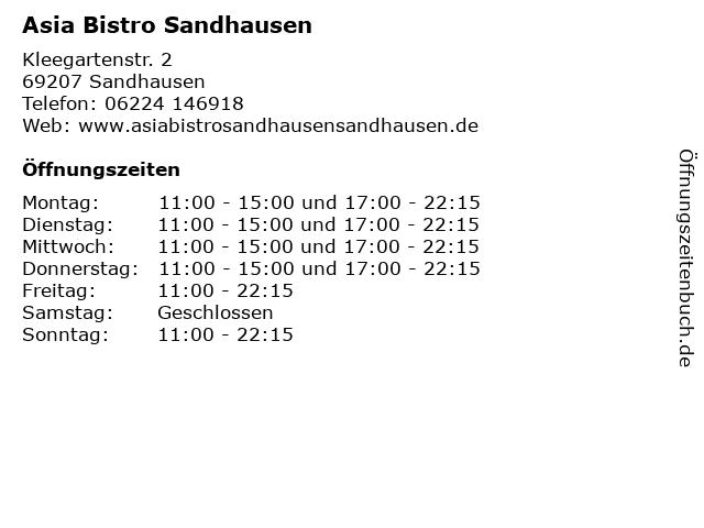 Asia Bistro Sandhausen in Sandhausen: Adresse und Öffnungszeiten