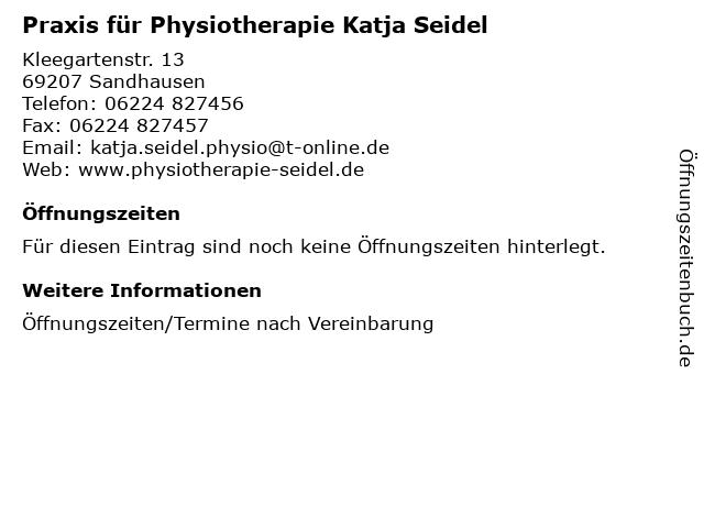 Praxis für Physiotherapie Katja Seidel in Sandhausen: Adresse und Öffnungszeiten