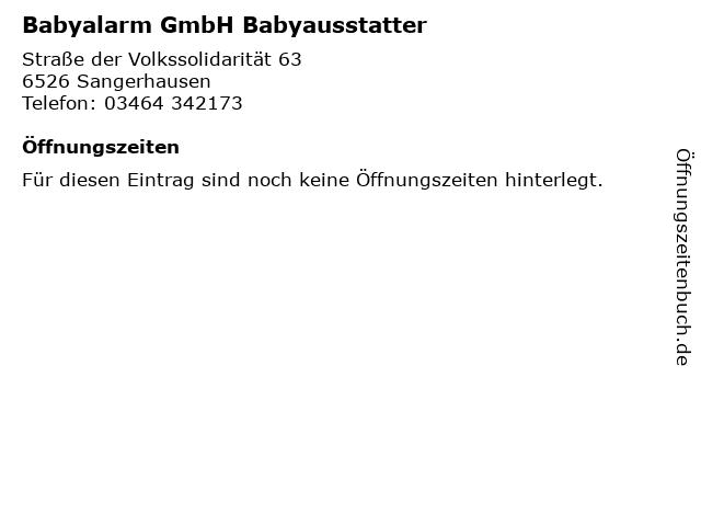 Babyalarm GmbH Babyausstatter in Sangerhausen: Adresse und Öffnungszeiten