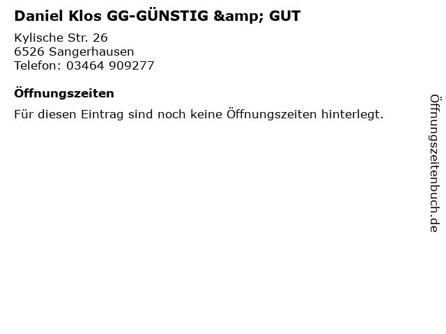 Daniel Klos GG-GÜNSTIG & GUT in Sangerhausen: Adresse und Öffnungszeiten