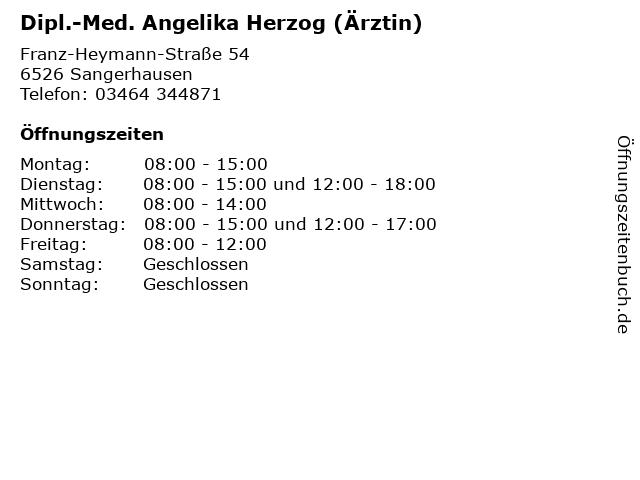 Dipl.-Med. Angelika Herzog (Ärztin) in Sangerhausen: Adresse und Öffnungszeiten