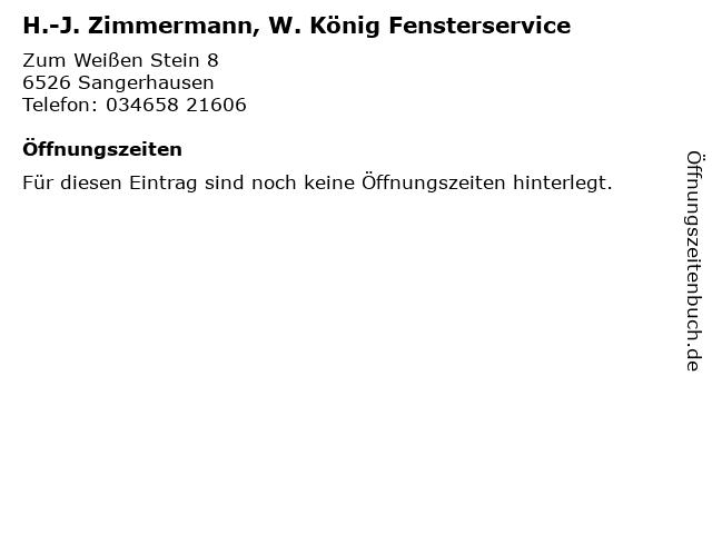 H.-J. Zimmermann, W. König Fensterservice in Sangerhausen: Adresse und Öffnungszeiten