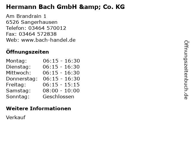 ᐅ Offnungszeiten Hermann Bach Gmbh Co Kg Am Brandrain 1 In