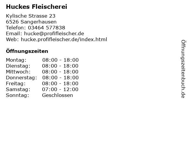 Huckes Fleischerei in Sangerhausen: Adresse und Öffnungszeiten