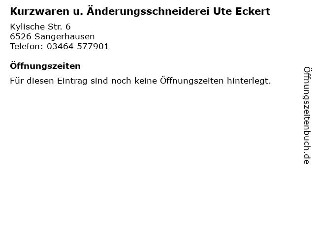 Kurzwaren u. Änderungsschneiderei Ute Eckert in Sangerhausen: Adresse und Öffnungszeiten