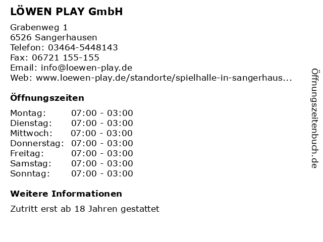 LÖWEN PLAY GmbH in Sangerhausen: Adresse und Öffnungszeiten