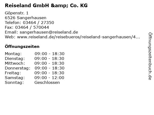 Reiseland GmbH & Co. KG in Sangerhausen: Adresse und Öffnungszeiten