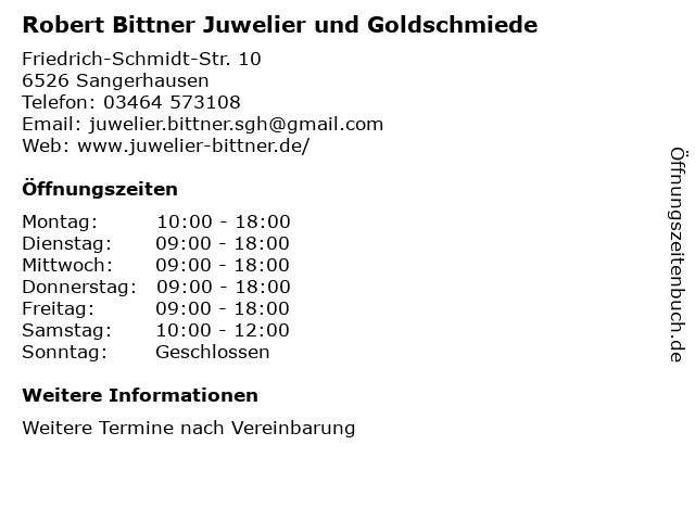 Robert Bittner Juwelier und Goldschmiede in Sangerhausen: Adresse und Öffnungszeiten