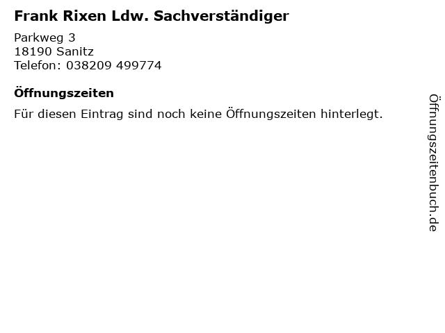 Frank Rixen Ldw. Sachverständiger in Sanitz: Adresse und Öffnungszeiten