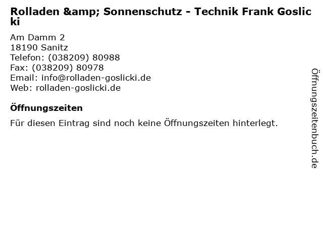 Rolladen & Sonnenschutz - Technik Frank Goslicki in Sanitz: Adresse und Öffnungszeiten