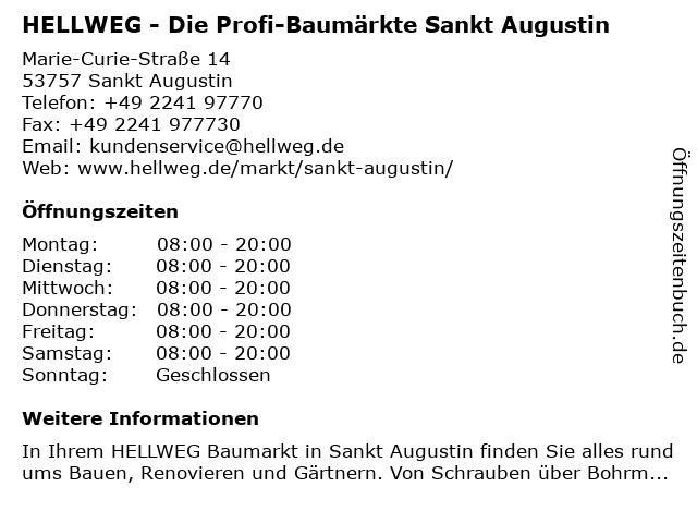 HELLWEG - Die Profi-Baumärkte Sankt Augustin in Sankt Augustin: Adresse und Öffnungszeiten