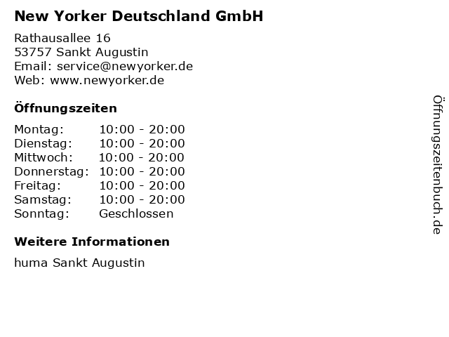 New Yorker Deutschland GmbH in Sankt Augustin: Adresse und Öffnungszeiten