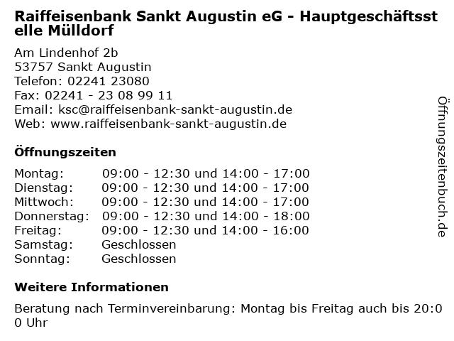 Raiffeisenbank Sankt Augustin eG - Hauptgeschäftsstelle Mülldorf in Sankt Augustin: Adresse und Öffnungszeiten