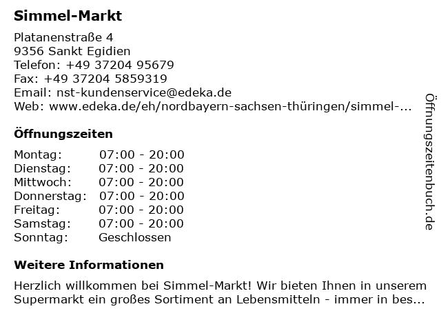 Simmel-Markt in Sankt Egidien: Adresse und Öffnungszeiten