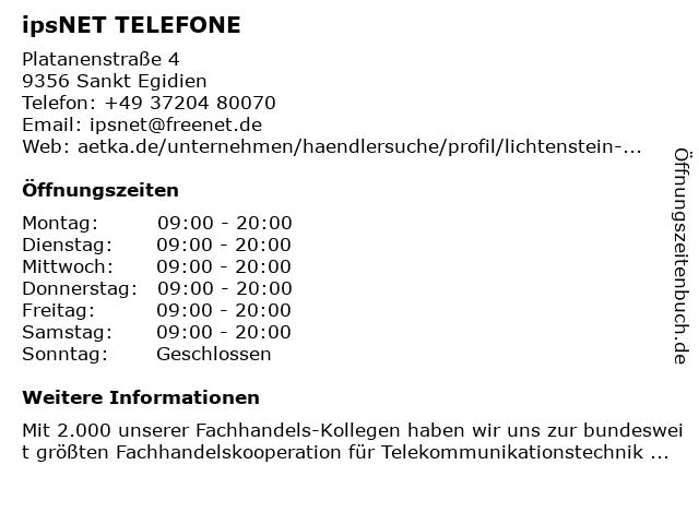 ipsNET TELEFONE in Sankt Egidien: Adresse und Öffnungszeiten