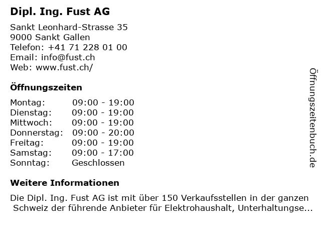 Dipl. Ing. Fust AG in Sankt Gallen: Adresse und Öffnungszeiten