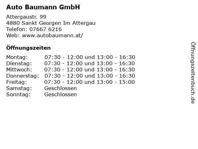 Auto Baumann GmbH in Sankt Georgen Im Attergau: Adresse und Öffnungszeiten