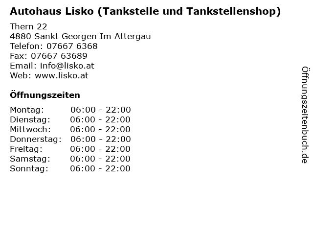 Autohaus Lisko (Tankstelle und Tankstellenshop) in Sankt Georgen Im Attergau: Adresse und Öffnungszeiten