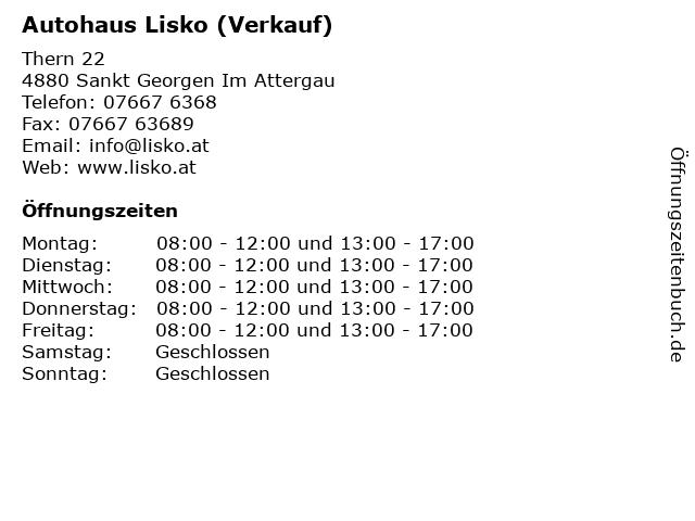Autohaus Lisko (Verkauf) in Sankt Georgen Im Attergau: Adresse und Öffnungszeiten