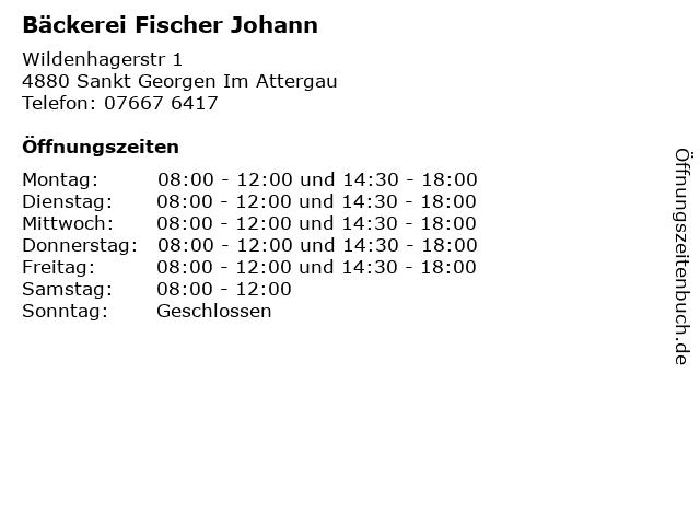 Bäckerei Fischer Johann in Sankt Georgen Im Attergau: Adresse und Öffnungszeiten