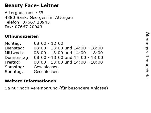 Beauty Face- Leitner in Sankt Georgen Im Attergau: Adresse und Öffnungszeiten