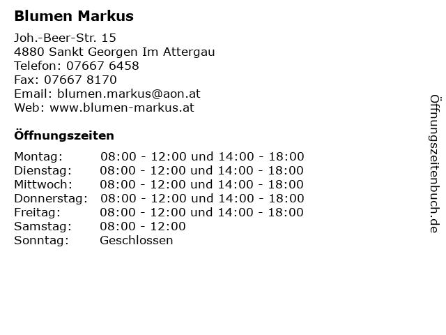 Blumen Markus in Sankt Georgen Im Attergau: Adresse und Öffnungszeiten