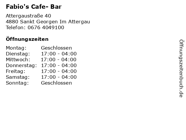 Fabio's Cafe- Bar in Sankt Georgen Im Attergau: Adresse und Öffnungszeiten