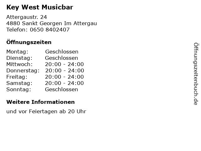 Key West Musicbar in Sankt Georgen Im Attergau: Adresse und Öffnungszeiten