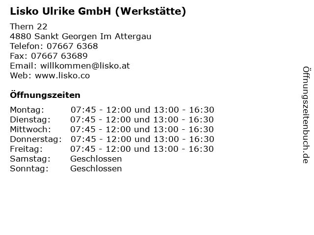 Lisko Ulrike GmbH (Werkstätte) in Sankt Georgen Im Attergau: Adresse und Öffnungszeiten