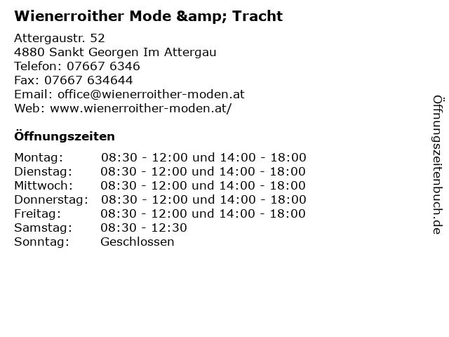 Wienerroither Mode & Tracht in Sankt Georgen Im Attergau: Adresse und Öffnungszeiten