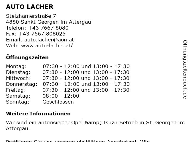 AUTO LACHER in Sankt Georgen im Attergau: Adresse und Öffnungszeiten