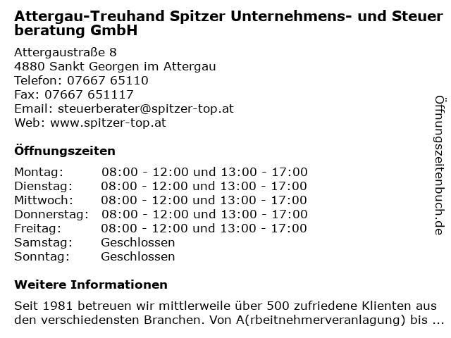 Attergau-Treuhand Spitzer Unternehmens- und Steuerberatung GmbH in Sankt Georgen im Attergau: Adresse und Öffnungszeiten