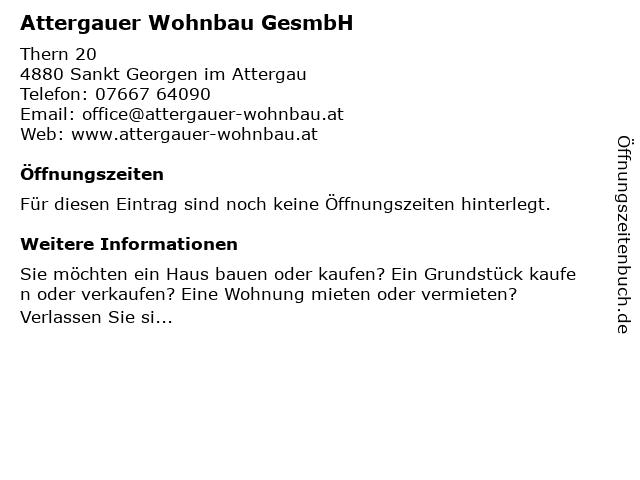 Attergauer Wohnbau GesmbH in Sankt Georgen im Attergau: Adresse und Öffnungszeiten