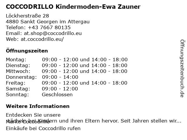 COCCODRILLO Kindermoden-Ewa Zauner in Sankt Georgen im Attergau: Adresse und Öffnungszeiten