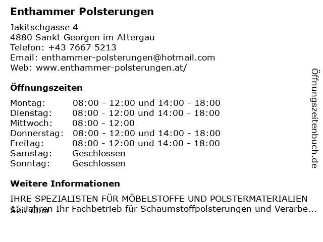 Enthammer Polsterungen in Sankt Georgen im Attergau: Adresse und Öffnungszeiten