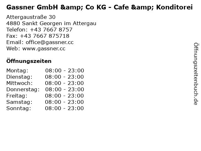 Gassner GmbH & Co KG - Cafe & Konditorei in Sankt Georgen im Attergau: Adresse und Öffnungszeiten