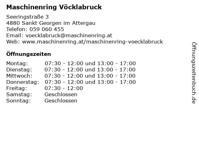 Maschinenring Vöcklabruck in Sankt Georgen im Attergau: Adresse und Öffnungszeiten