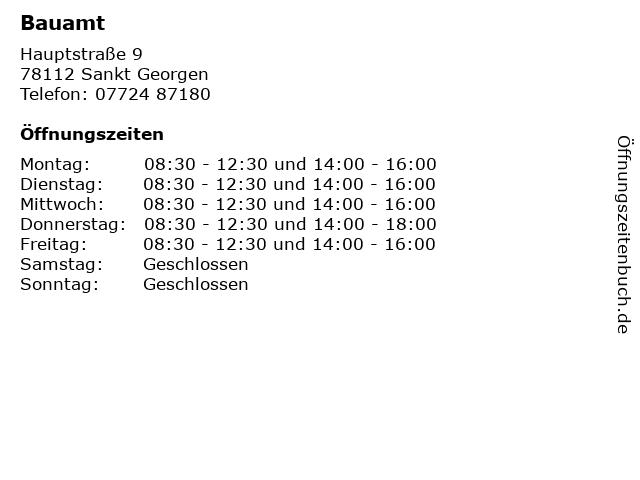 Bauamt in Sankt Georgen: Adresse und Öffnungszeiten