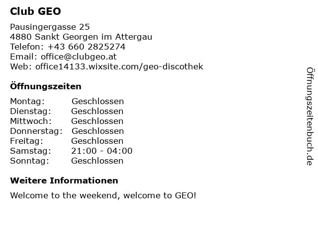 Club Geo in Sankt Georgen: Adresse und Öffnungszeiten