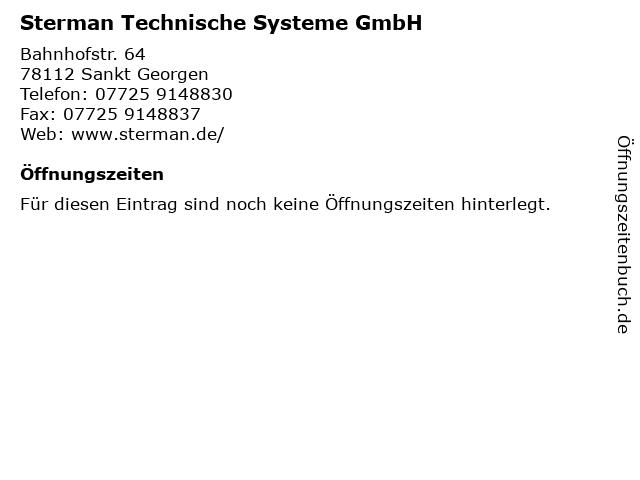 Sterman Technische Systeme GmbH in Sankt Georgen: Adresse und Öffnungszeiten