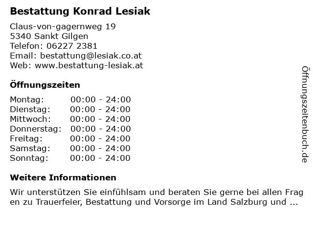 Bestattung Konrad Lesiak in Sankt Gilgen: Adresse und Öffnungszeiten