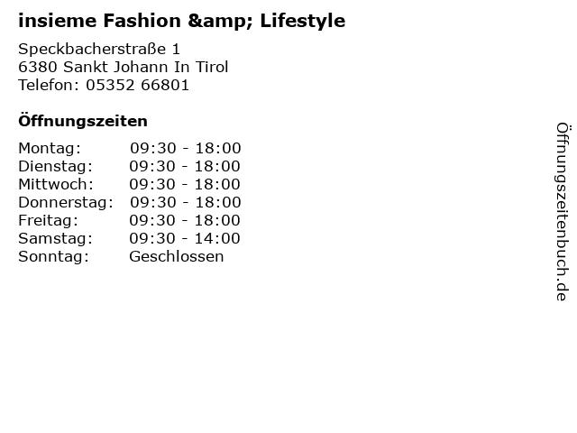 insieme Fashion & Lifestyle in Sankt Johann In Tirol: Adresse und Öffnungszeiten