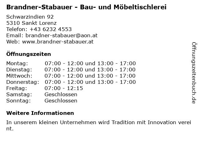 Brandner-Stabauer - Bau- und Möbeltischlerei in Sankt Lorenz: Adresse und Öffnungszeiten